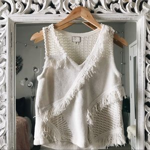 NWT Anthropologie Pacific Fringe Sweater Tank S